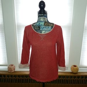 Anne Klein Red Studded Sweatshirt
